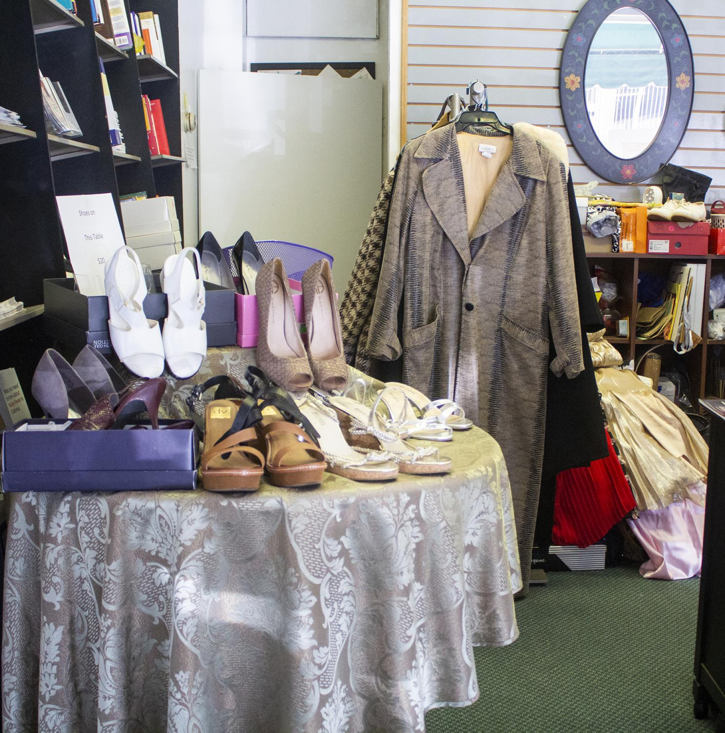 A shoe display for some of the items on sale at Dress for Success.