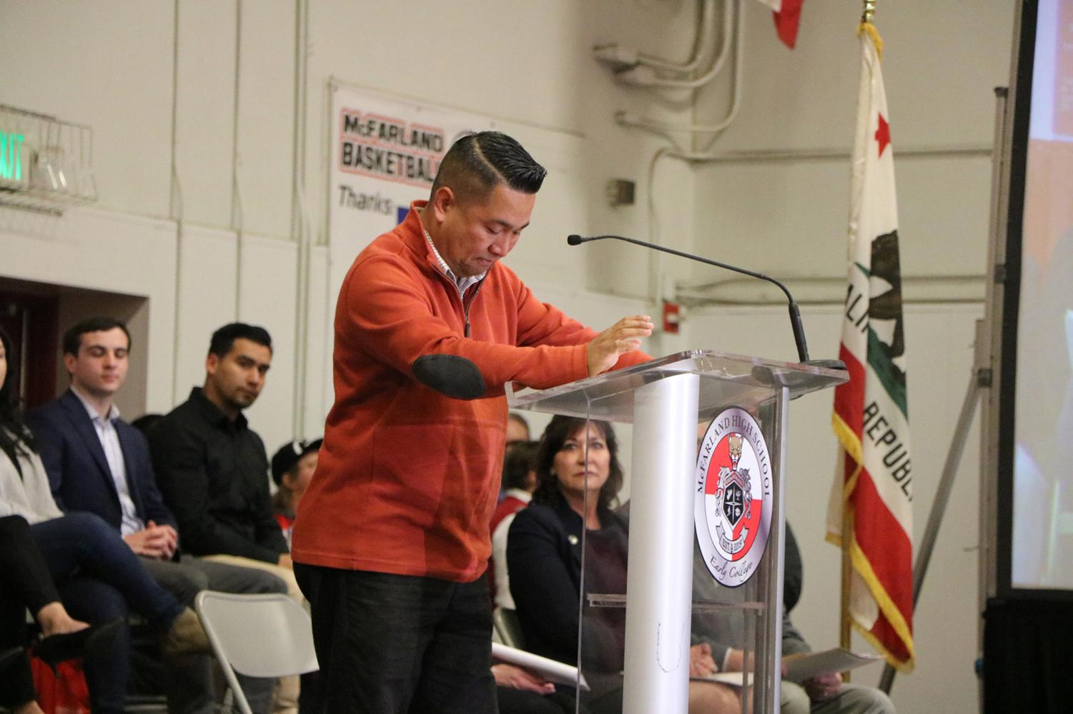 Vice President of the Kern Community College District Romeo Agbalog gets emotional over the moving program that will change MHS student's future.