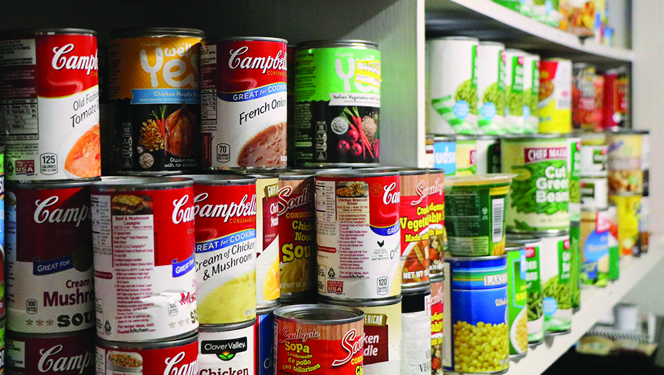 The Renegade Pantry has a variety of canned goods available to students.