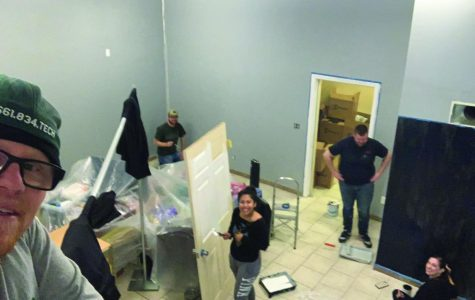Group members (left to right) John Heath, Timothy Gobler, Mia Cifuentes, Ian Sharples, and Sarah LeVan work on a nursery