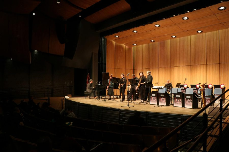 Wayne Horitz (left) and The BC Jazz Ensemble performing in the PAC