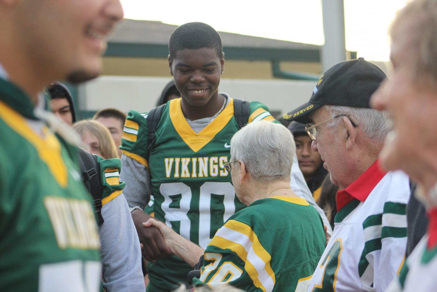 A smiling Aaran Porter sharing his gratitude with citizens of Bakersfield.