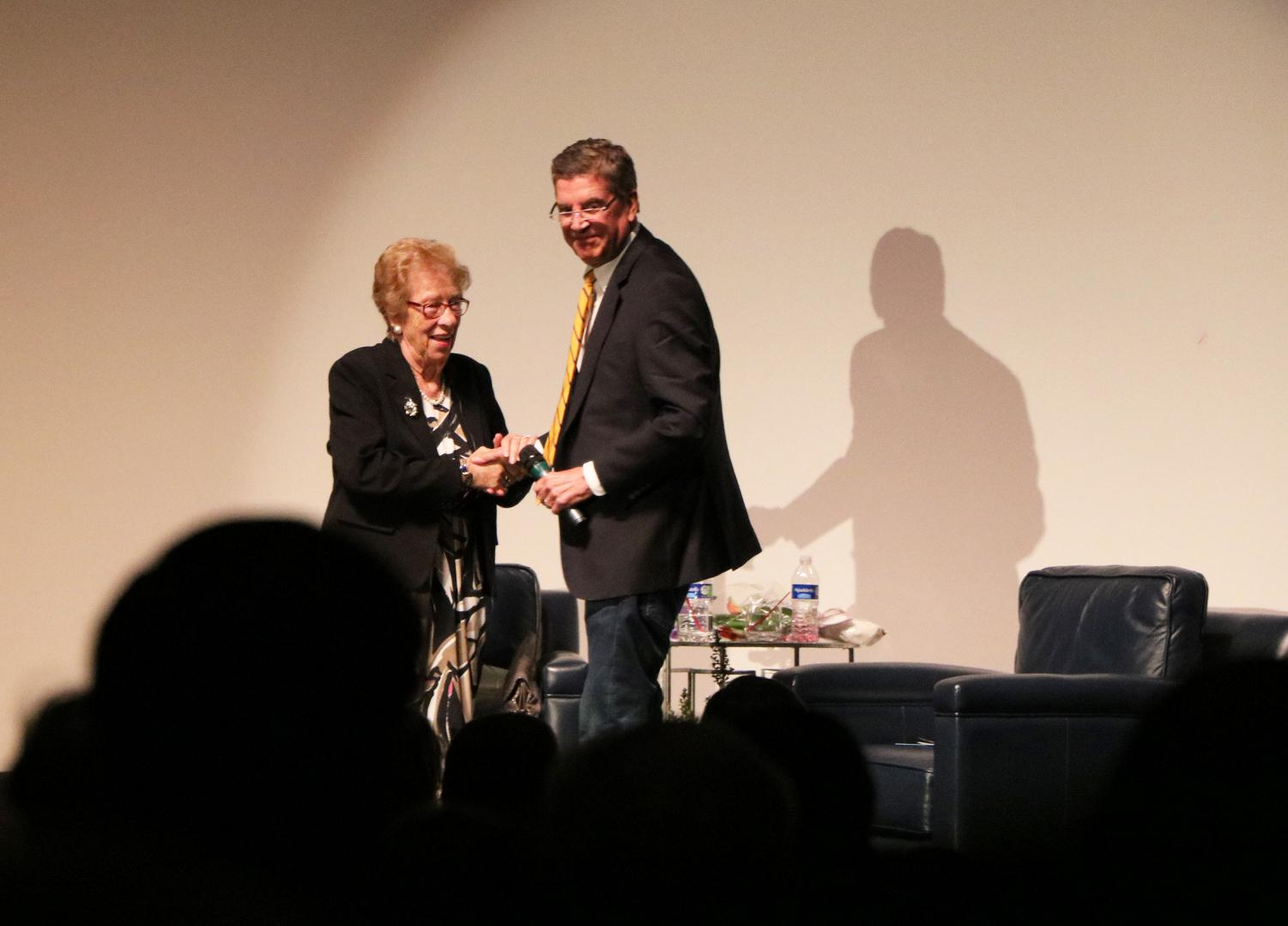 Eva Schloss, Holocaust survivor and stepsister of Anne Frank, with Richard Beene, Kern 1180 Radio Host, after discussing Schloss's story as a Holocaust survivor in March 12, at the Fox Theater Bakersfield.
