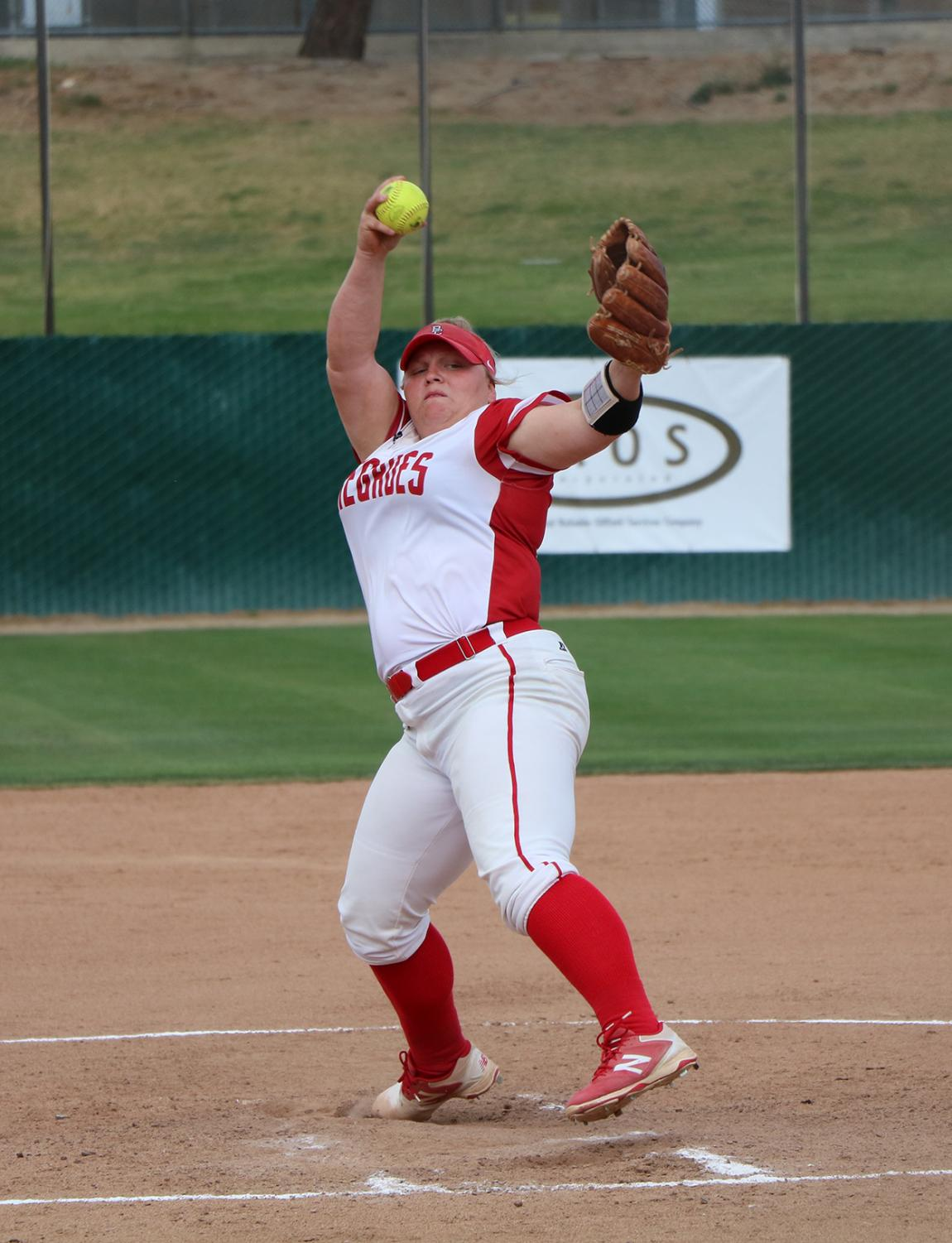 BC's softball pitcher Kylee Fahy during a conference game at the Dean & Adah Gay Sports Complex. Fahy is currently leading the state with strikeouts.