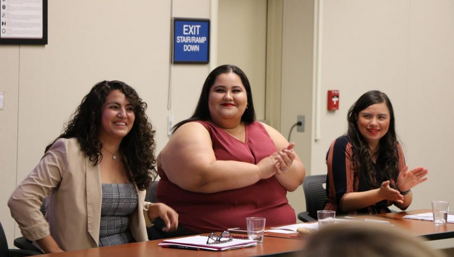 Members of the Bakersfield College's Latinas Unidas Club introducing themselves during Dolores Huerta Day at Bakersfield College in the Levan Center, on April 8.