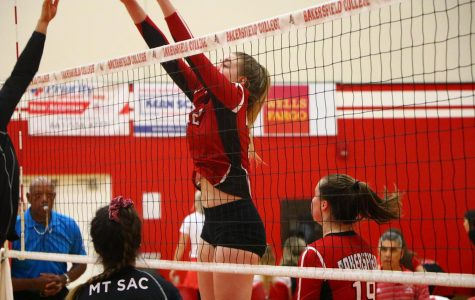 Emily Clark puts up a huge block against Mt. San Antonio