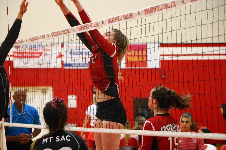 Emily Clark puts up a huge block against Mt. San Antonio
