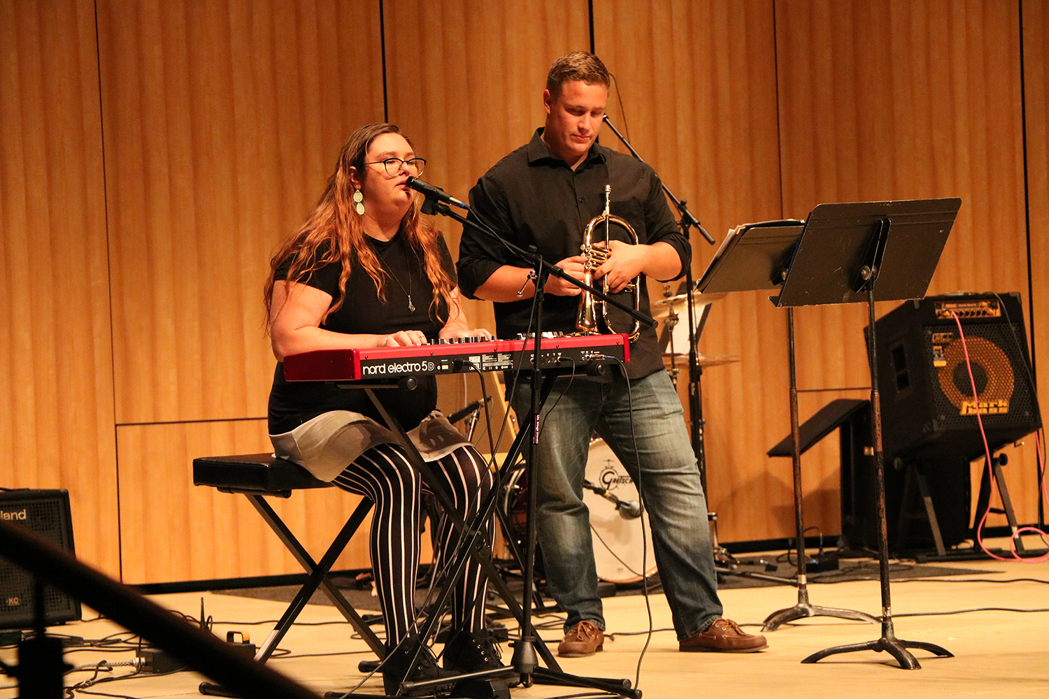 Izzy Foster (left) and Tony Stone (right) performing a musical piece during the Panorama Creative Music Summit on Sept. 16 at Bakersfield College.