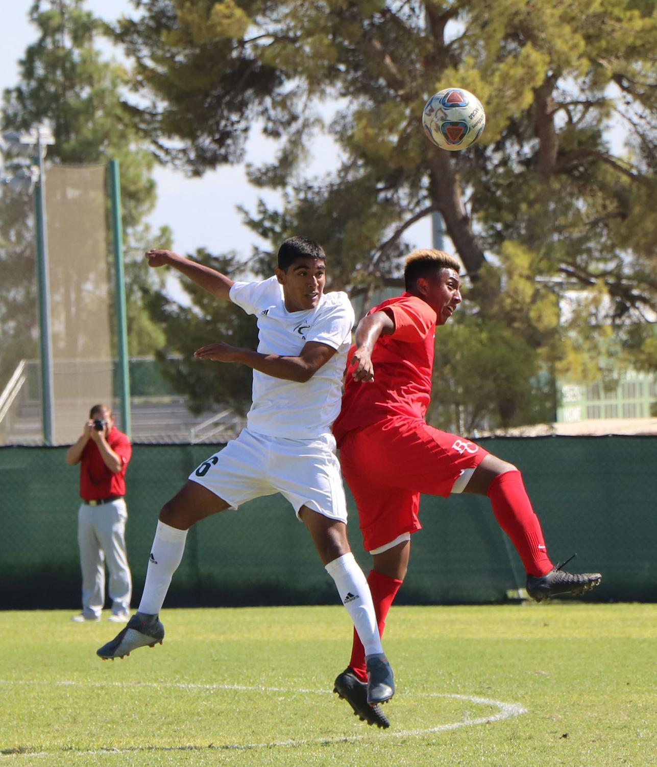 Bakersfield College Men Soccer's defensive midfielder Angel Cervantes (7) during the first half of the Renegades' host game against East LA College at the BC Soccer Field, Sept. 10. BC took the win, 1-0.