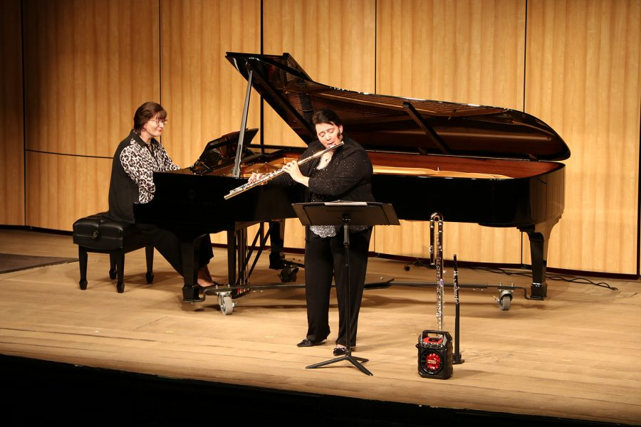 Performing+a+musical+piece+on+flute+was+Tracy+Harris%2C+accompanied+by+pianist+Svetlana+Radikovn-Harris.+