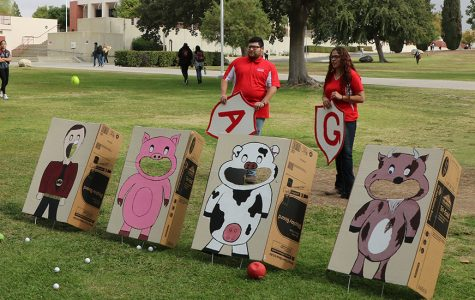 The BC Agriculture club hosting a bag toss game at the pep rally on Oct. 17.