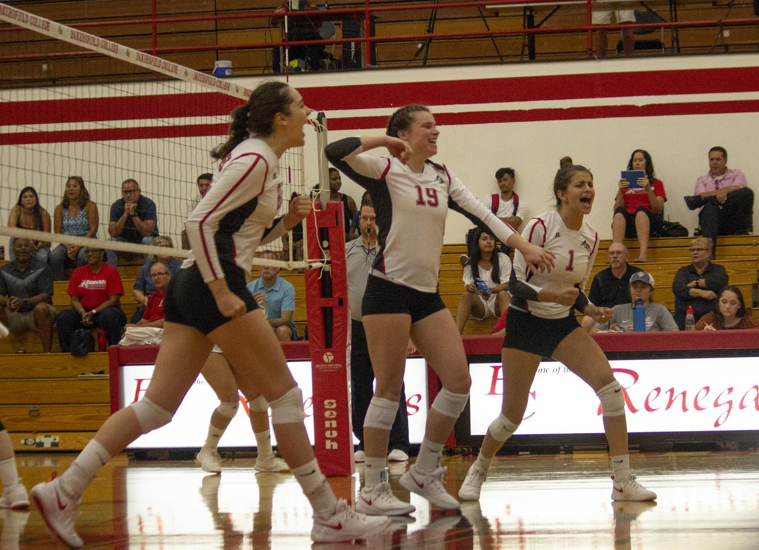 Alison Dees celebrates after scoring a kill against College of the Canyons, on Wednesday.