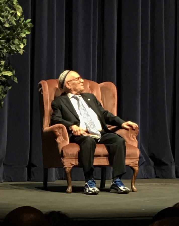 Jacob Eisenbach watching the Rabbi sing a Yiddish song at the Dore theatre at CSUB on Nov. 10.