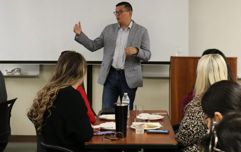 Assembly member, Rudy Salas, speaks about the importance of voting, animal overpopulation, bullying in schools, the effects of social media on students, and the PG&E power shutoffs during the BCSGA Power lunch in the Levan Center on Oct. 21.