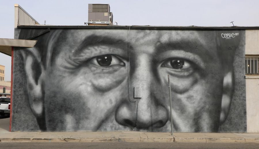 Civil Rights Activist, Cesar Chavez mural painted by international muralist Cobre. The mural is located downtown at the corner of L and 18th St across from Sequoia Sandwich Company.