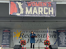 Dolores Huerta speaking about the equal rights for women amendment at the Women's March on Jan. 18.
