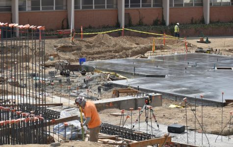 Construction workers working on the new Science and Engineering building at Bakersfirld College, September 2020.