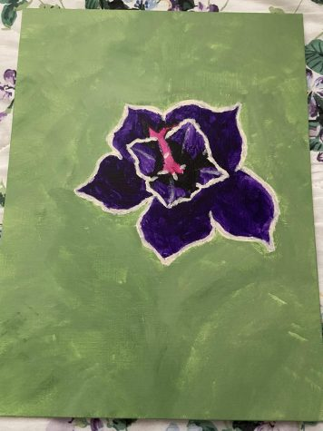 Here is a painting of a purple flower that only took two days to make because the flower had to be sketched first and then painted. Pinterest provided inspiration because it was where the picture of the flower was found.