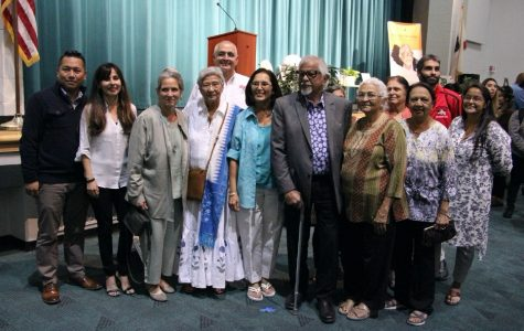 A photo includes BC President Sonya Christian, Director of Student of Student Life Nicky Damania and the rest of the planning committee for BC's Peace Garden at the Gandhi celebration back in October 2019. Mahatma Gandhi's grandson, Arun Gandhi was a guest speak at BC's Delano Campus, thanks to the support of Naina Patel from the Patel Foundation.