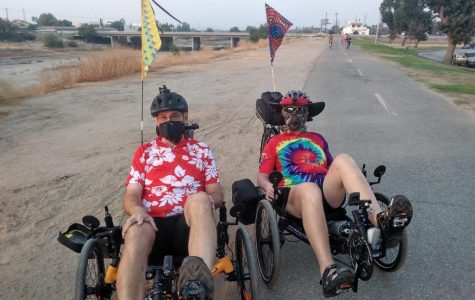 Gary and Cathy White are geared up and ready to start biking. They started at Beach Park and ended at the Market Place on Sept. 2.