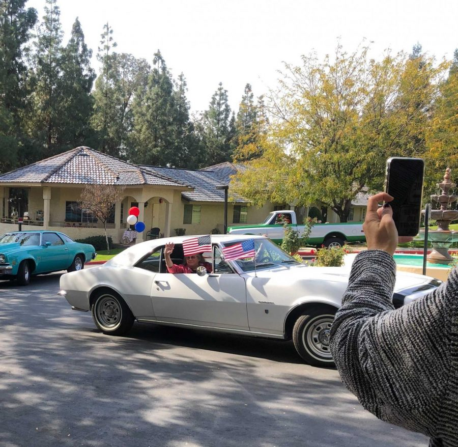 One of the cars that drove by on Columbus Estates at the Veterans Day Drive on Nov. 11.