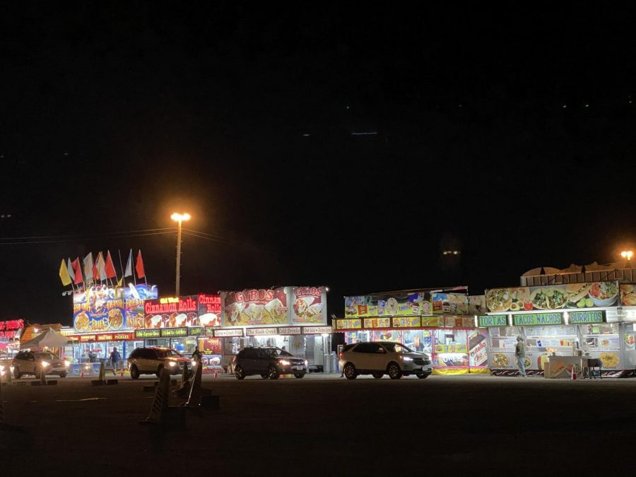 Cars lined up to enjoy some fair food on Friday, Jan. 29.