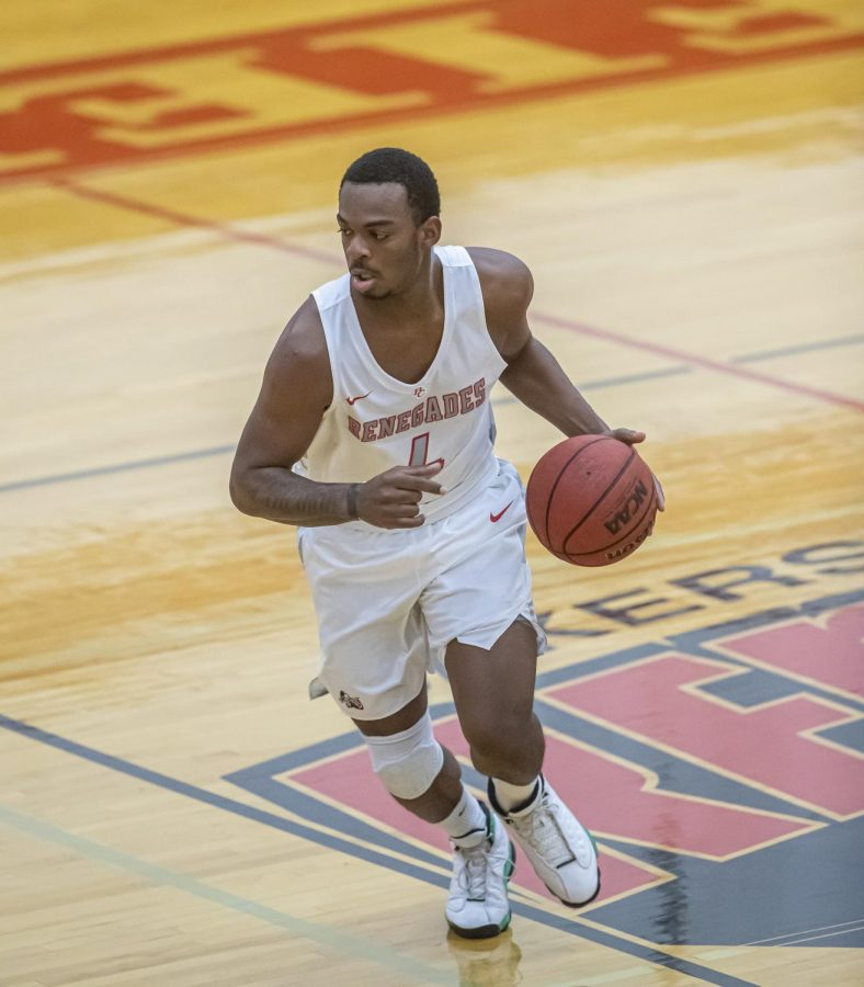 Bakersfield College's Men Basketball player during a March 2021 match. BC men's basketball is one of the sports back after an almost year-long hiatus due to the ongoing COVID-19 pandemic.