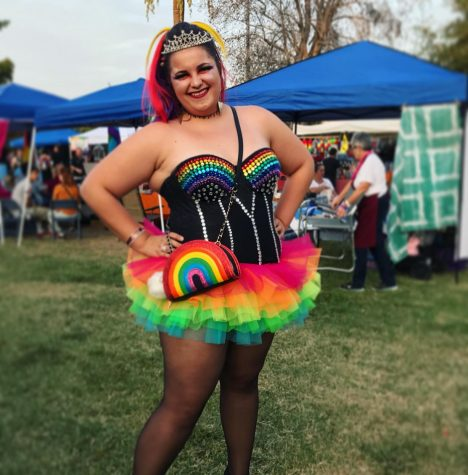 Daniela Walkover wearing her home-made outfit to a Pride parade.