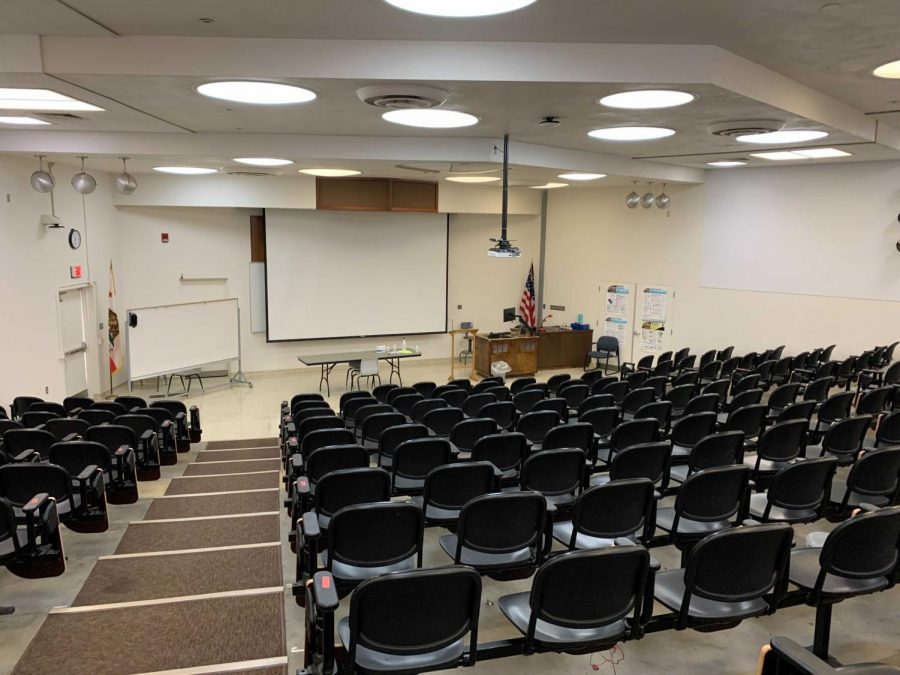 An empty classroom in the Forum building at BC, March 2021. It has been a year since campus been fully open for in-person classes.