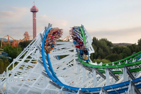 Riders racing on the Twisted Colossus rollercoaster at Six Flags Magic Mountain.