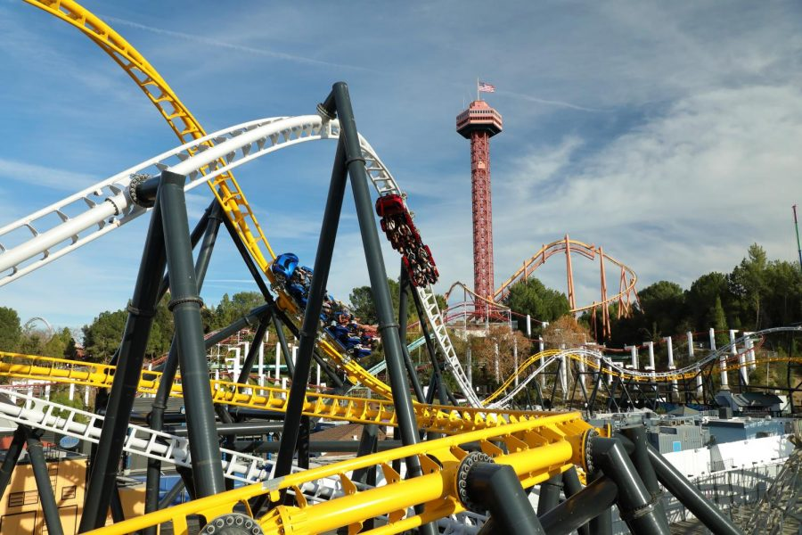 Riders racing on the newest ride at Six Flags Magic Mountain , West Coast Racers.