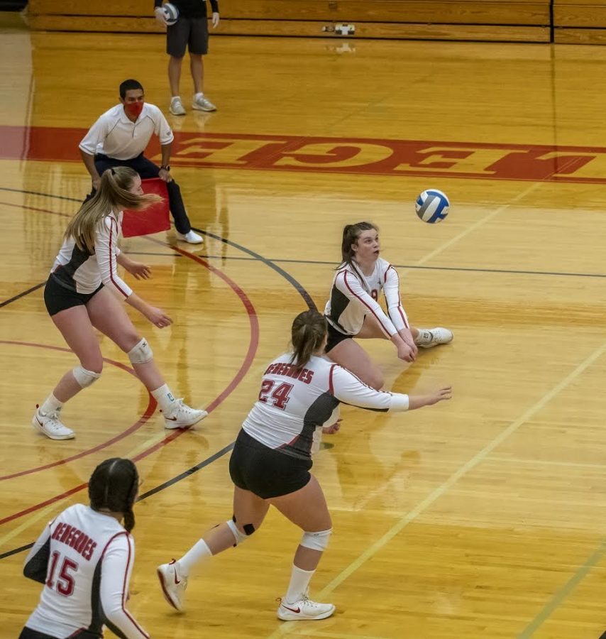 Bakersfield College volleyball played Cuesta College at home where #19 Alyson Dees was captured making a dig for her team on March 31.