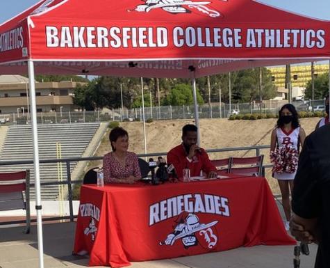 Bakersfield Mayor Karen Goh (left) and Renegade Report host Kenny Calvin (right) beginning BC Athletics Media Day.
