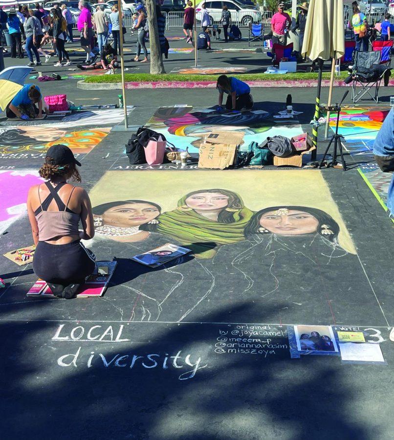 """Local Diversity"" an original chalk painting by @joyacamel, @meeera_p, @ariannanasim & @misszoya on Instagram."